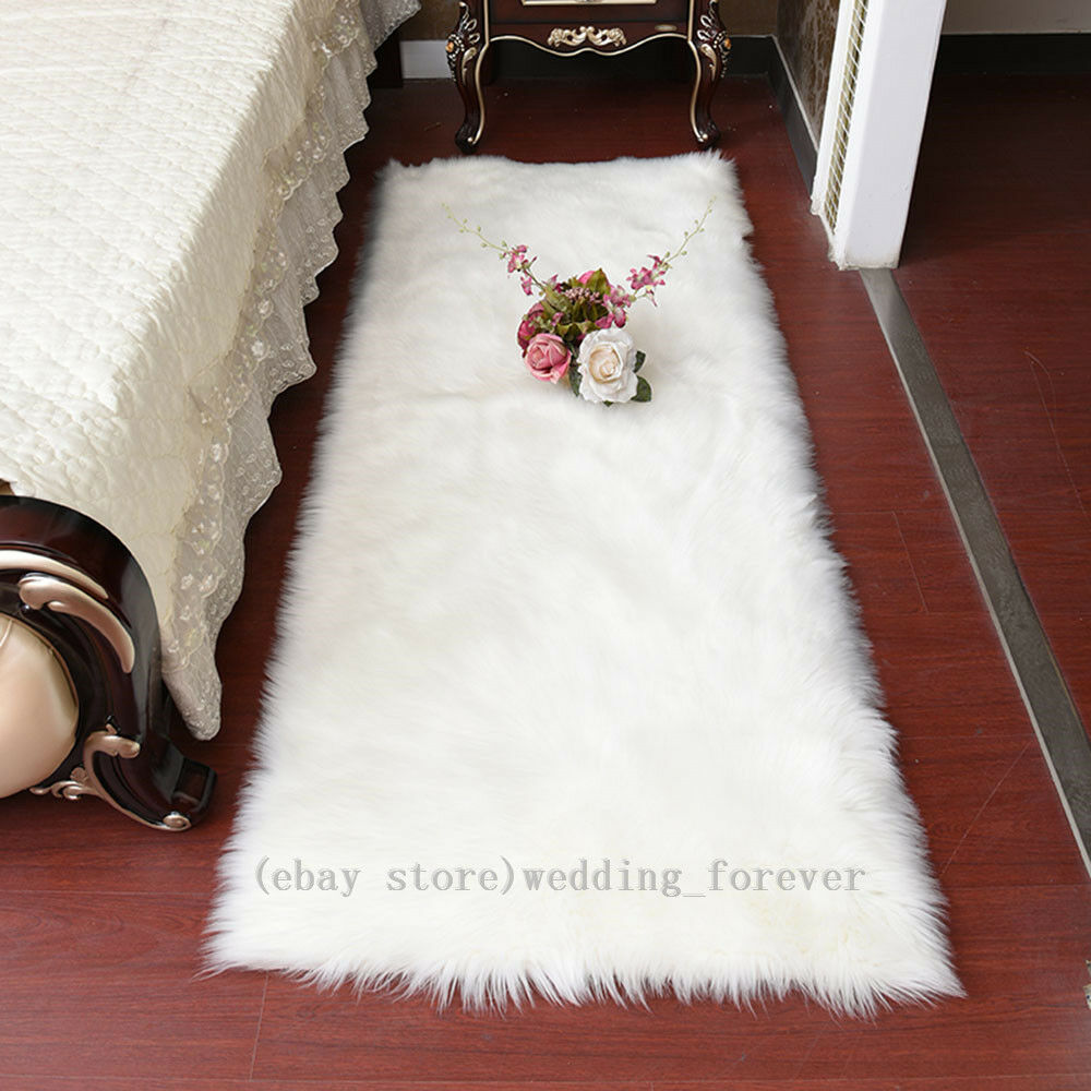 Thick Faux Fur Sheepskin Rug Large Fluffy Sofa Mat Balcony