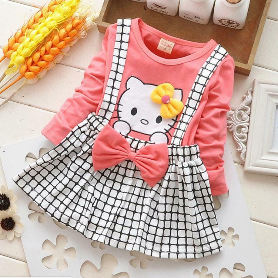 Hello Kitty Baby Girls Dress Toddler Children Kids Girls Dress Tutu Dress Cotton