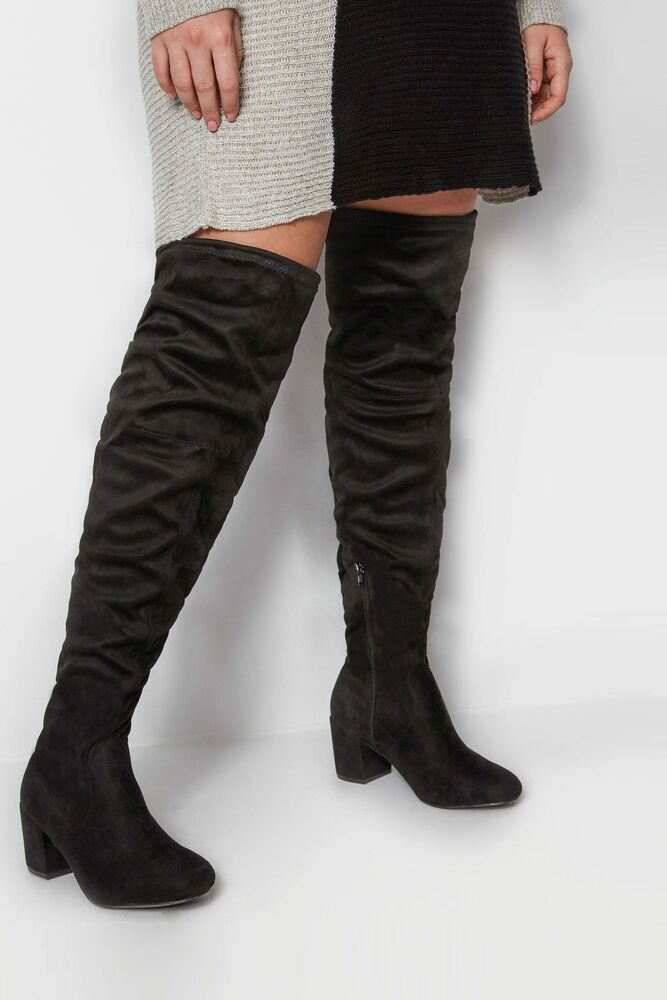 67d4950b0fa Details about Yours Clothing Wide Fit Women s Over The Knee Boots In Eee Fit