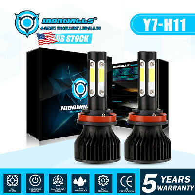 IRONWALLS H11 LED Headlight Kit Low Beam Bulb Super Bright 360000LM 6000K White
