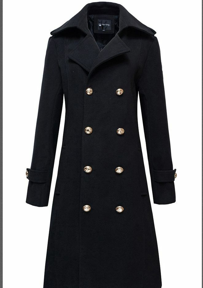 men 39 s military wool blend winter jackets double breasted warm long trench coats ebay. Black Bedroom Furniture Sets. Home Design Ideas