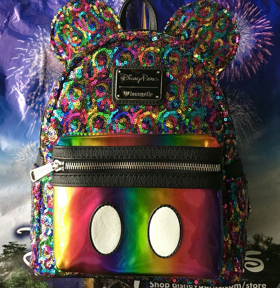 2281e9d404cb Disney Parks Loungefly Rainbow Sequin Mini Backpack Mickey Mouse Ears NEW  w tags