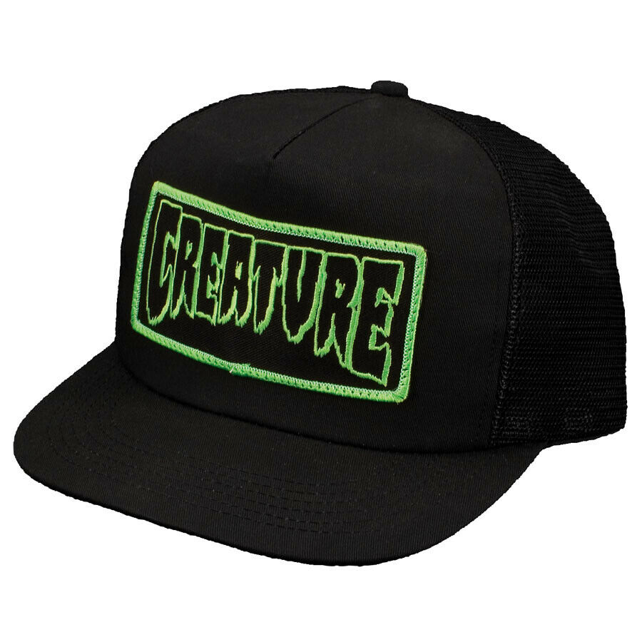 19f3a3e8f0c Details about Creature Skateboards Logo Mesh Trucker Hat Snapback Cap Mens  Black Green New