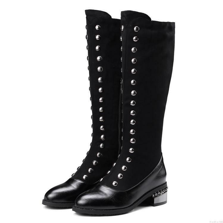 28e982b2916 Details about Gothic Women Rock Punk Rivet Knee High Riding Boots Pointy Toe  Chunky heel Shoes