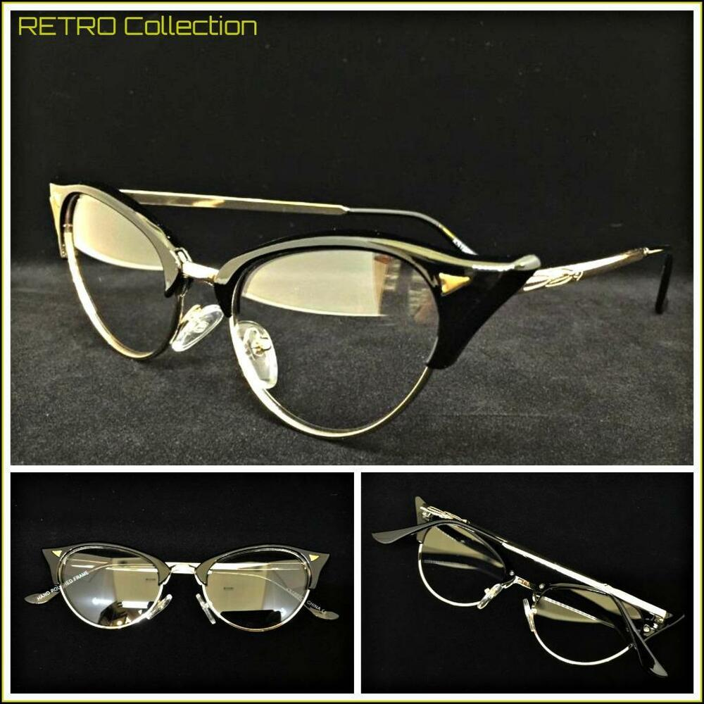 8ffa4de28f5 Details about Classy 60s Retro Cat EYE Style Clear Lens EYE GLASSES Black    Gold Fashion Frame