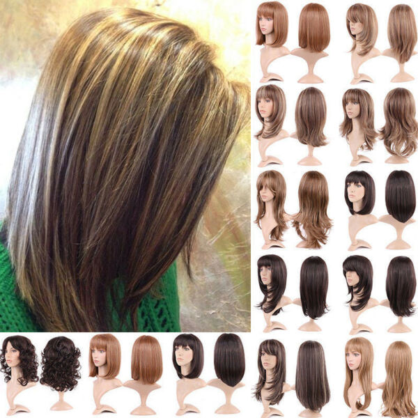 Sexy Women's Straight Bob Wigs with Bangs Natural Synthetic Party Wig Blonde OA