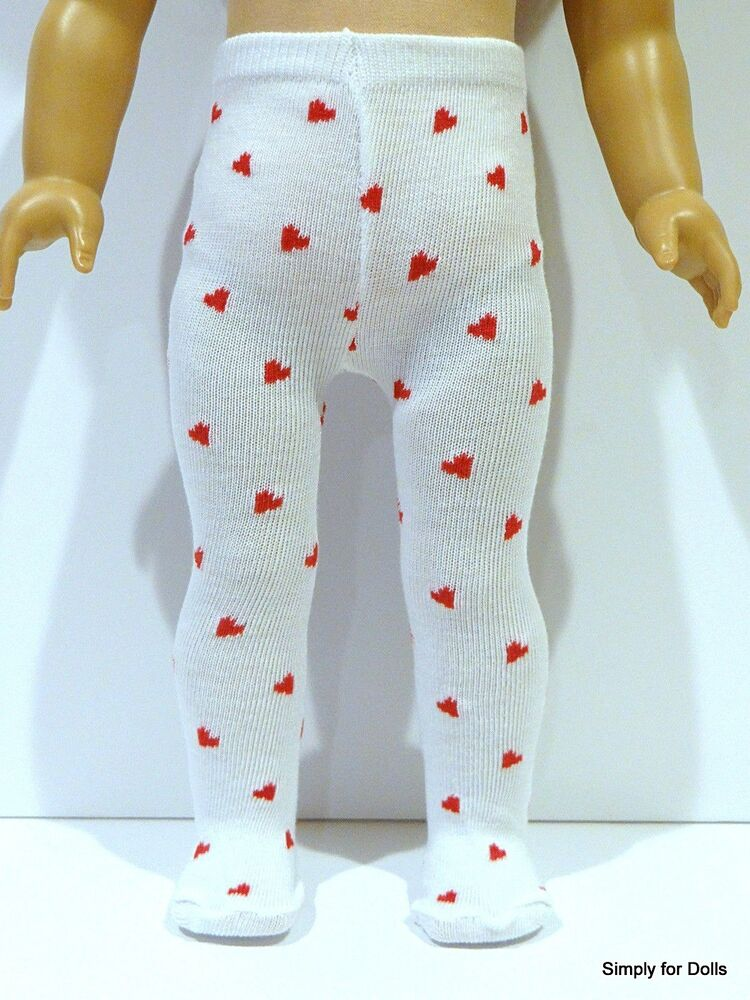 d7da5cb3849a8 Details about WHITE w/ RED Hearts DOLL TIGHTS STOCKINGS fits 15