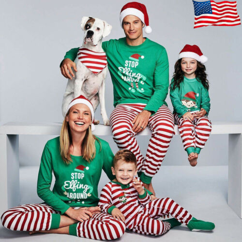 Christmas Family Matching Pajamas Set Women Baby Kids Elf Sleepwear Nightwear