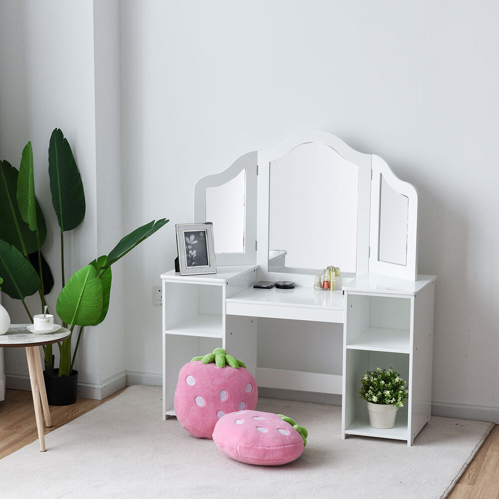 Genial Details About Vanity Table Set Makeup Dressing Kids Girls Study Table Tri  Folding Mirror