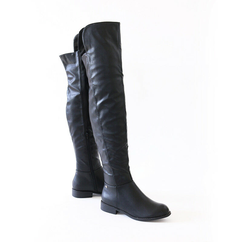 b67fe4c03d93 Details about Chic Bold Vegan Leather Over The Knee High Rider Boots Black  Flat
