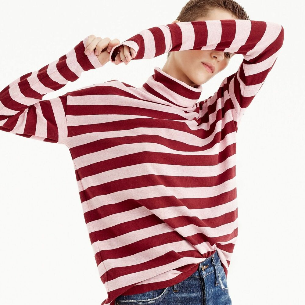 0891fd6cf77 Details about J Crew Deck-striped turtleneck T-shirt Cotton Oversized Red  Pink Long Sleeve S
