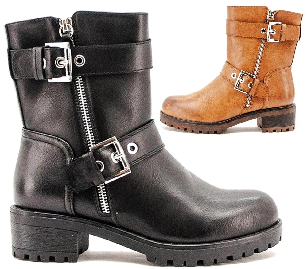 2827536bdf071 Details about WOMENS FAUX LEATHER MILITARY WORKER BUCKLE STRAP FLAT BIKER  ZIP ANKLE BOOTS SIZE