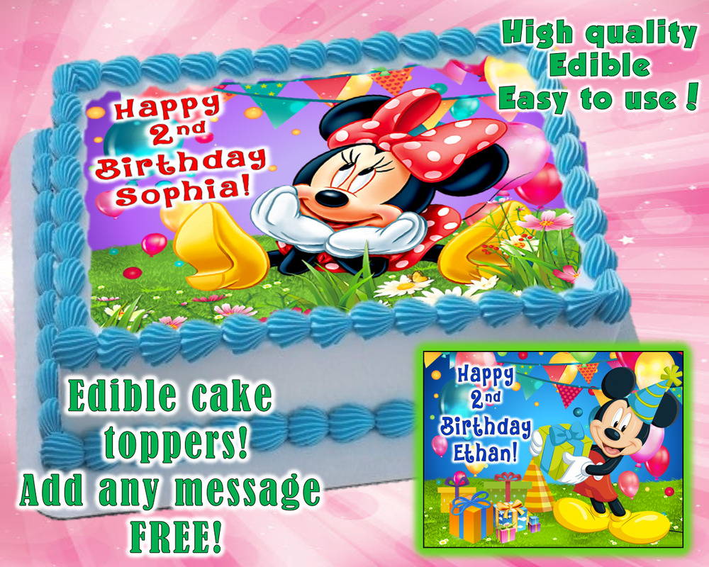 Minnie Mouse Mickey Mouse Edible Cake Topper Personalized Party
