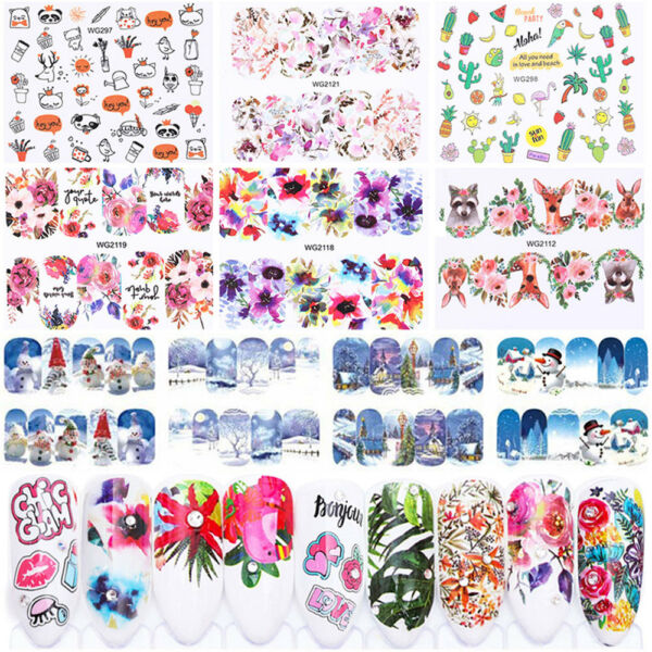 Flower Stickers ongle Water Decal Lot Christmas Nail Art Manucure Tips