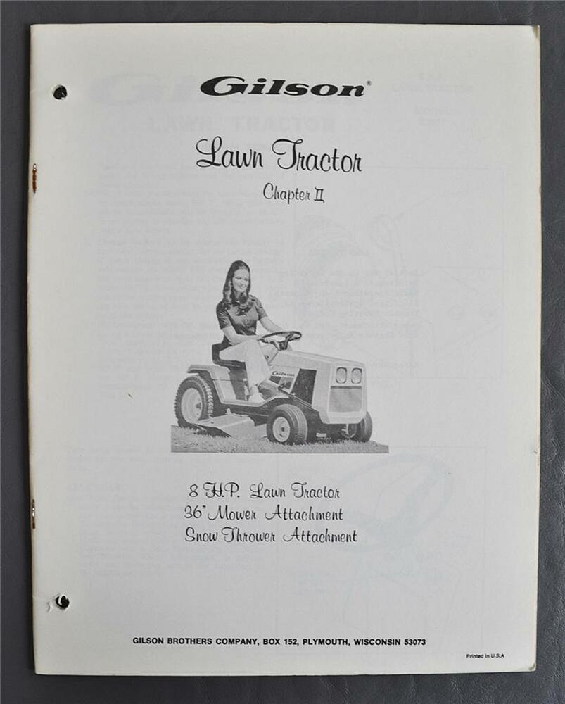 Details about Vintage Gilson 8HP Lawn Tractor Owners Manual -36