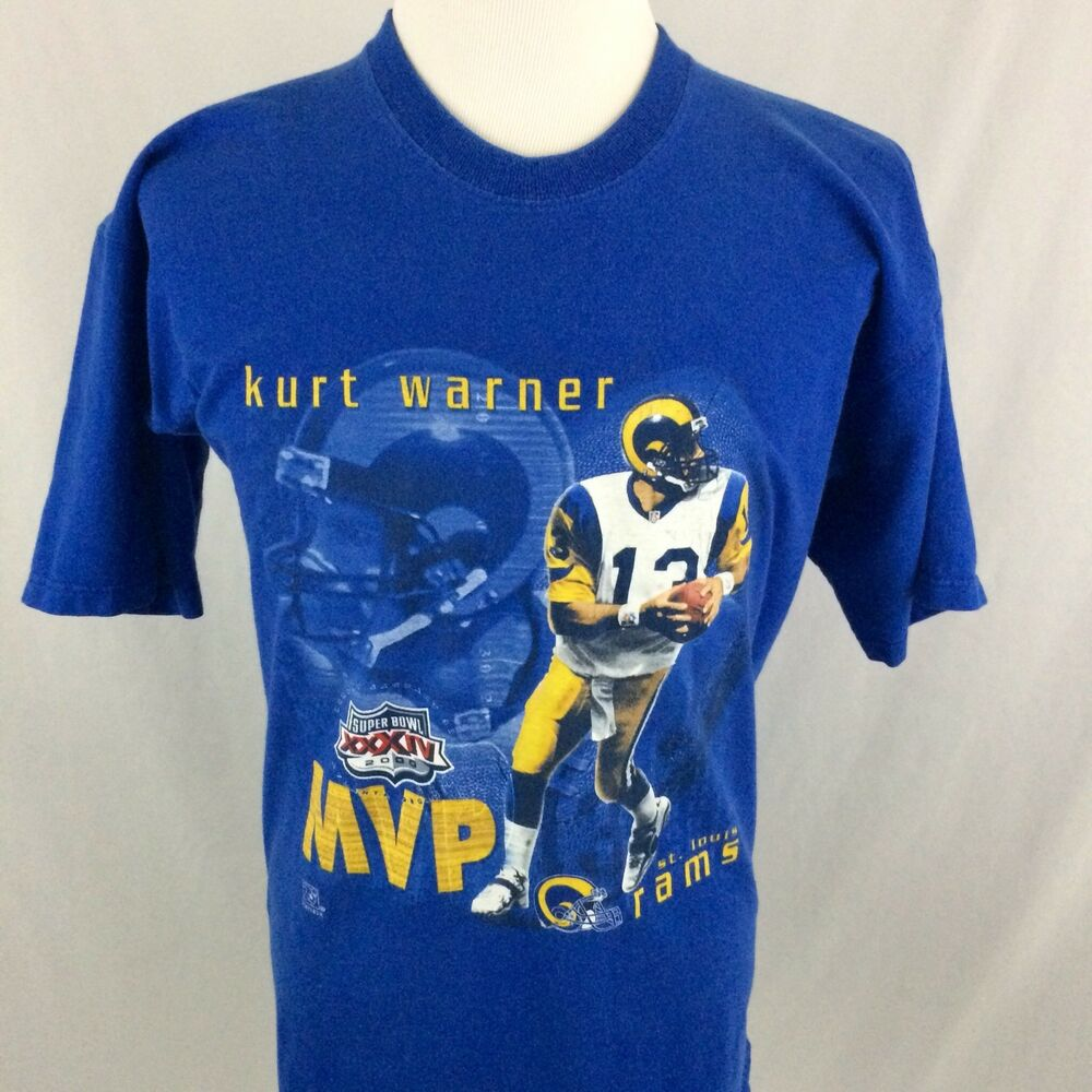 eeb9675ad Details about Kurt Warner Super Bowl XXXIV T-Shirt XL St. Louis Rams NFL  Football MVP 2000 VTG