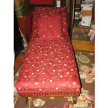 Vintage Antique Oak & Tapestry Fainting Couch