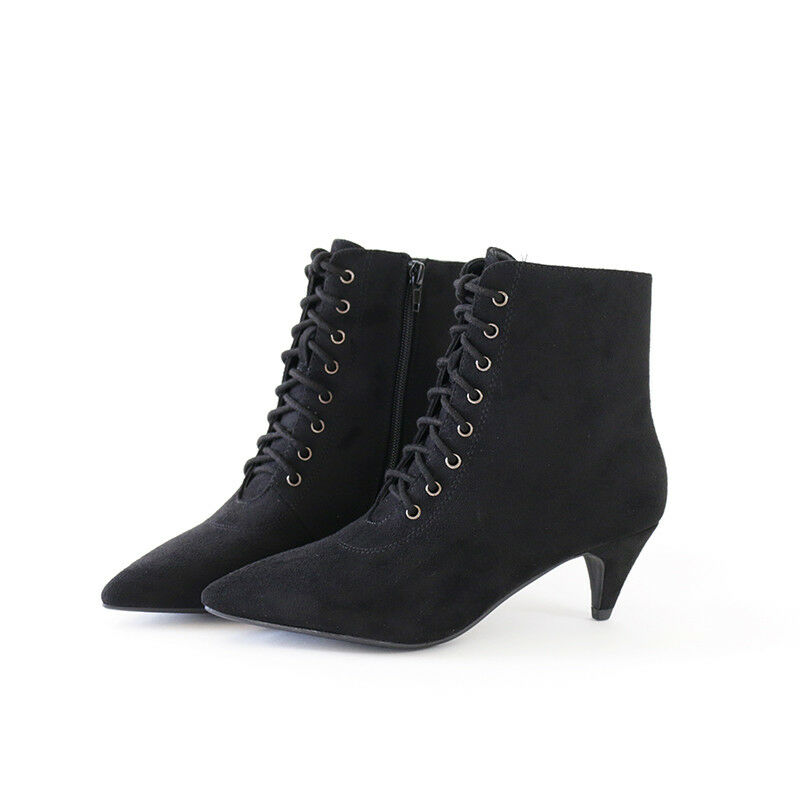 7ba3f6f570b6 Details about Chic Edge Vegan Suede Lace Up Ankle Boots Booties Pointy Toe  Kitten Heel