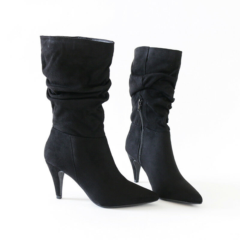 819f4c5ef124 Details about Trendy Chic Slouchy Pointy Toe Mid-Calf Boots Vegan Suede 3  1 4