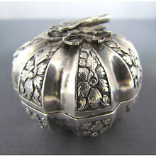 19th Century Asian Sterling Silver Melon Form Betel Box