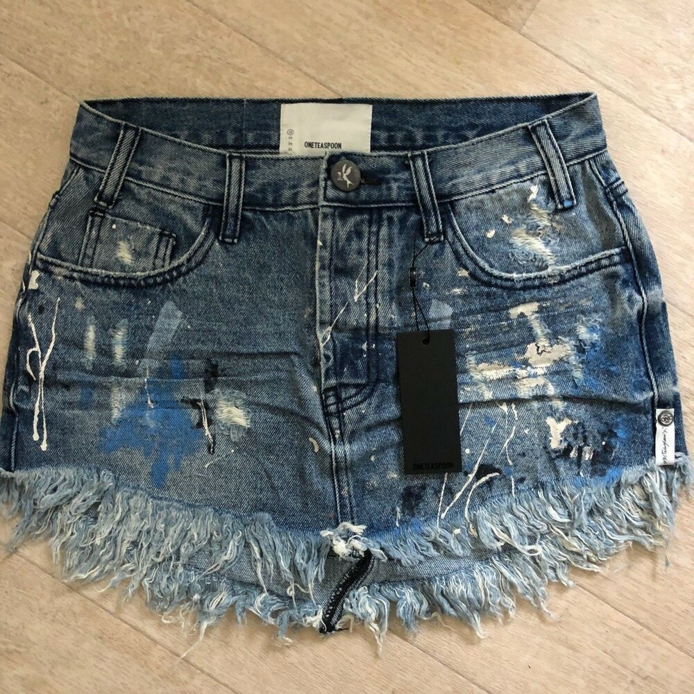 f4f4bdeee1 One Teaspoon JUNKYARD BLUE ARTISTE 4040 Jeans Mini Skirt 22 23 24 25 26 27  28 29 | eBay