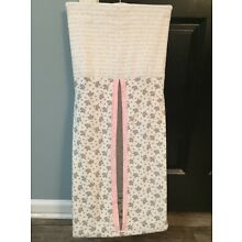 Hanging Diaper Holder Pink And Gray Elephants Hand Made Fast Free Shipping