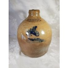 Antique Stoneware Jug J B Caire New York 1843 Blue Stamp