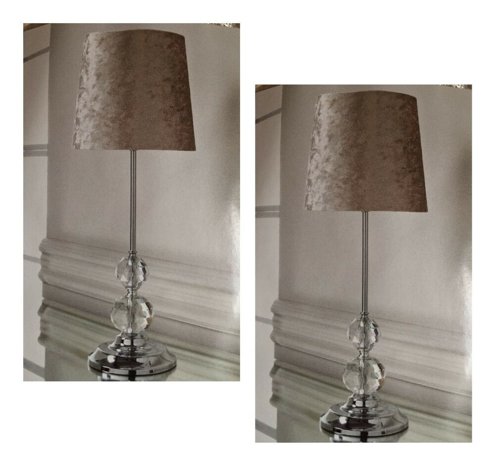 Luxe Crystal Crushed Velvet Table Lamp Bedside Tablelamp Gold 2