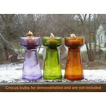 3 Crocus Bulb Forcing Starter Vases PURPLE / GREEN / AMBER Stained Glass EEC