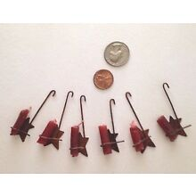 Set of 6 Miniature Rusty Tin Star Candle Ornaments FARMHOUSE/Prim/Country