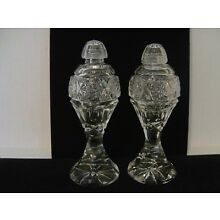 VINTAGE CUT AND PRESSED GLASS SALT AND PEPPER SHAKERS WITH GLASS TOPS 6