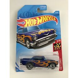2019 Hot Wheels '57 CHEVY #9 - HW FLAMES BLUE  - SHIPS OUT FAST