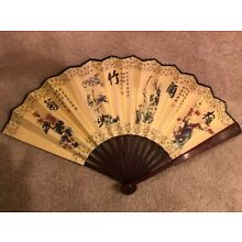 Chinese Sandalwood Fan with Plum Blossoms, Orchid, Bamboo and Chrysanthemum