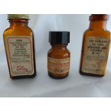 3 GREAT BOTTLES LABELS,CONTENTS FROM CLOSED DRUG STORE, APOTHECARY, PHARMACY