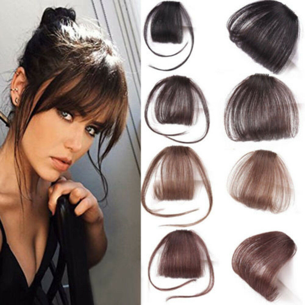 Details about Women Thin Neat Air Bangs Human Hair Extensions Clip In  Fringe Front Hair Piece 3879ef0ad3