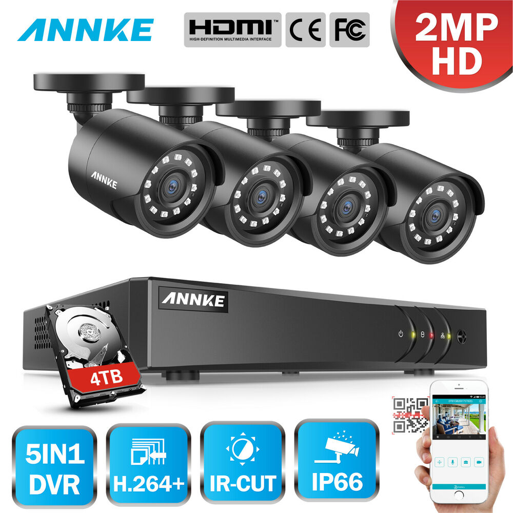 ANNKE 4CH 1080N H 264+ DVR 1080P 2MP HD Security Camera
