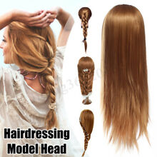 27''100% Real Hair Practice Training Head Mannequin Hairdressing Doll With Clamp