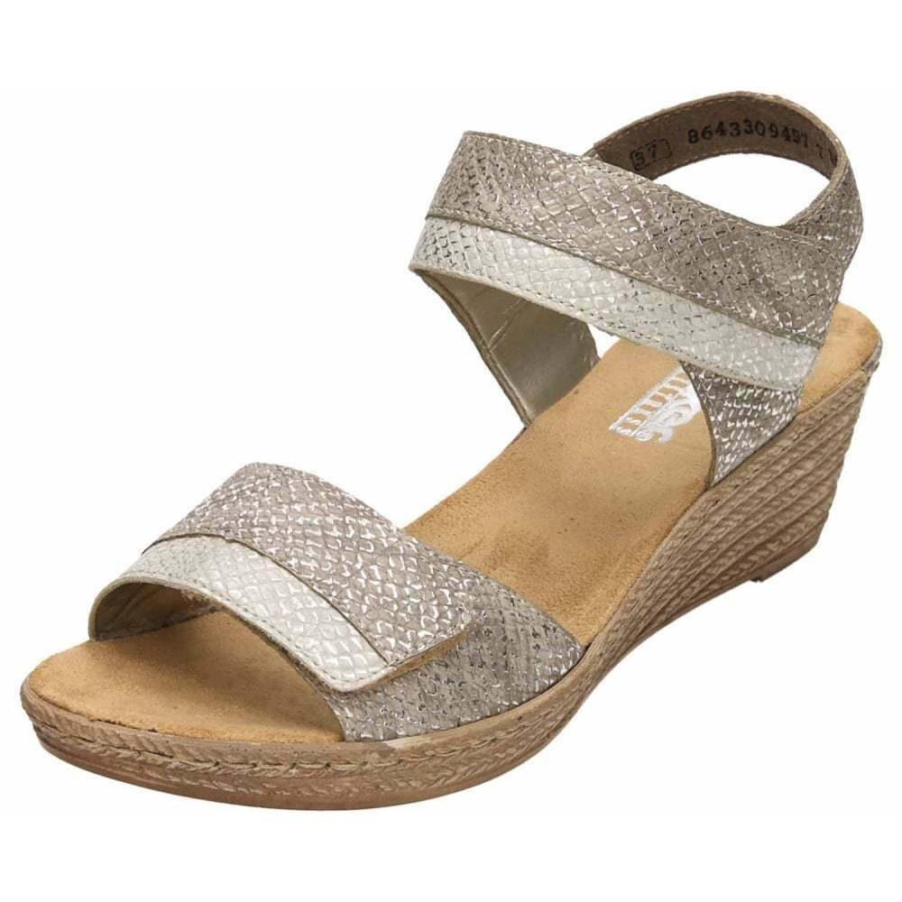 e491fed9be32 Details about Rieker Wedge Heel Platform Slingback Open Toe Sandals  62470-64 Metallic Grey