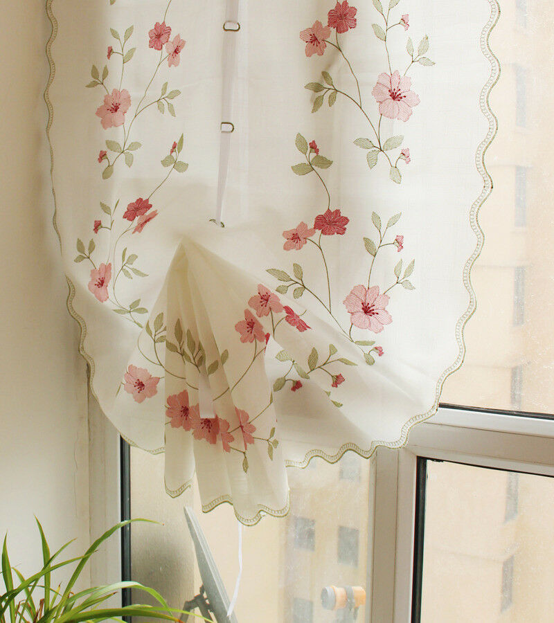 Embroidered Rose Balloon Shade Curtain Sheer Kitchen Cafe