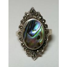 Estate 925 NF Sterling Silver Abalone Marcasite Ring Sz 8 1/4