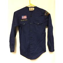 Official Boy Scouts of America BSA Shirt Blue Uniform Size Youth Long Sleeve