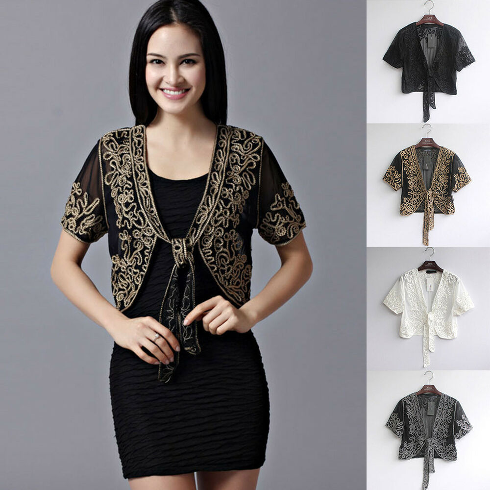 b5108e9c5a Details about Women s 1920s Shawl Beaded Sequin Deco Evening Cape Bolero  Flapper Cover up UK