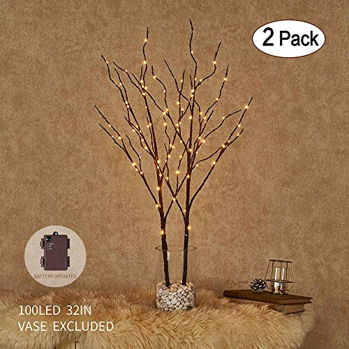 Details About Pre Lit Artificial Twig Tree Lighted Willow Branches Brown Fairy Lights Decor