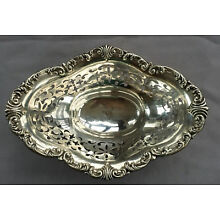 c1855 MERRIMAN Sterling Silver RETICULATED Footed BOWL 102g Antique Vintage