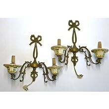 ANTIQUE VICTORIAN 1940's BRASS PAIR WALL SCONCE 2-ARM CERAMIC HAND PAINTED