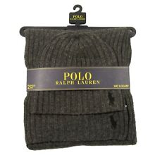 NEW - POLO RALPH LAUREN MEN'S HAT & SCARF 2 PC SET - CHARCOAL GRAY - RETAIL $99