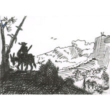 Original ACEO pen and ink drawing of a man on a donkey