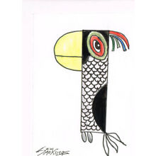 Original ACEO pen and ink/watercolor drawing of a parrot after a drawing by Pi