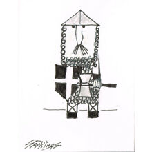 Original ACEO pen and ink/watercolor drawing of a soldier after a drawing by Pi