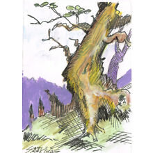 Original ACEO pen and ink/watercolor drawing of a tree on a hill side